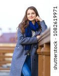 cute young woman in city... | Shutterstock . vector #1082619971