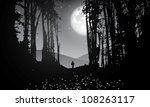 Vector Forest At Night With...