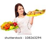 thinking woman choosing between ... | Shutterstock . vector #108263294
