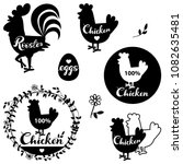 set chicken and eggs farm logo... | Shutterstock .eps vector #1082635481
