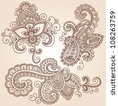 hand drawn henna paisley... | Shutterstock .eps vector #108263759