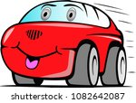 cartoon red funny car | Shutterstock .eps vector #1082642087