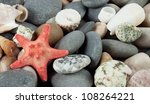 Background With A Red Starfish...