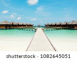 maldives water bungalow on...   Shutterstock . vector #1082645051