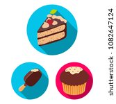 chocolate dessert flat icons in ... | Shutterstock .eps vector #1082647124