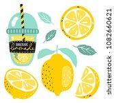 hand drawn lemon  lemon slice ... | Shutterstock .eps vector #1082660621