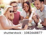 friends having a great time in... | Shutterstock . vector #1082668877