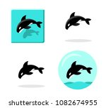 set of killer whale icons in... | Shutterstock .eps vector #1082674955