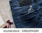 close up of blue jeans  blue... | Shutterstock . vector #1082694284
