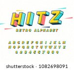 abstract retro 3d font... | Shutterstock .eps vector #1082698091