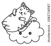 cute cat sleeping with cloud... | Shutterstock .eps vector #1082718587