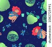 girl loves tea with bergamot... | Shutterstock .eps vector #1082725991