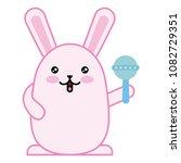 cute rabbit with jingle bell... | Shutterstock .eps vector #1082729351