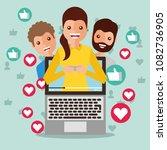woman blogger on screen viral... | Shutterstock .eps vector #1082736905