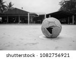 the old leather soccer ball on... | Shutterstock . vector #1082756921