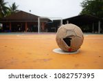 the old leather soccer ball on... | Shutterstock . vector #1082757395