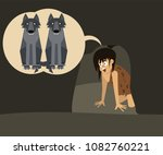 primitive fear  boy at cave...   Shutterstock .eps vector #1082760221