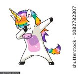 Stock vector dabbing unicorn vector design 1082782307