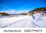 a lot of snow on the street... | Shutterstock . vector #1082794874