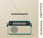 portable vintage radio receiver   Shutterstock .eps vector #1082797379
