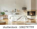 spacious bedroom interior with... | Shutterstock . vector #1082797799