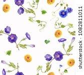 watercolor pattern flowers... | Shutterstock . vector #1082811011