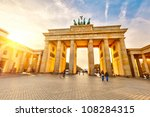 Stock photo brandenburg gate at sunset berlin 108284315