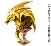 the golden dragon statue on a... | Shutterstock .eps vector #1082846264
