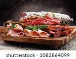 food tray with delicious salami ... | Shutterstock . vector #1082864099