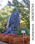 Small photo of CHARLOTTESVILLE, VA–October 25, 2017: The tarp shrouded statue of Stonewall Jackson in a Charlottesville park where Civil War statues have become a point of contention.