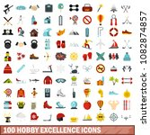 100 hobby excellence icons set... | Shutterstock . vector #1082874857