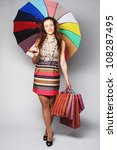 lovely woman with shopping bags ... | Shutterstock . vector #108287495