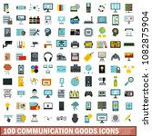 100 communication goods icons... | Shutterstock . vector #1082875904