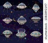 set flying saucer  spaceship...   Shutterstock .eps vector #1082892197