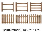 wood fence set | Shutterstock .eps vector #1082914175