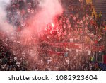 rome  italy   may 2 2018   fans ... | Shutterstock . vector #1082923604