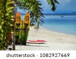 colorful stacking kayaks on... | Shutterstock . vector #1082927669