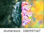 human brain illustration on top ... | Shutterstock . vector #1082937167