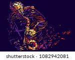 jazz saxophone player. colorful ... | Shutterstock .eps vector #1082942081