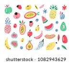 cartoon colorful tropical... | Shutterstock .eps vector #1082943629
