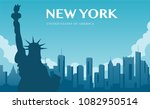 statue of liberty. new york... | Shutterstock .eps vector #1082950514
