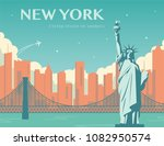 statue of liberty. new york... | Shutterstock .eps vector #1082950574
