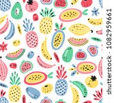 cartoon tropical fruits and... | Shutterstock .eps vector #1082959661
