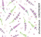 lavender flowers and hearts... | Shutterstock .eps vector #1082982809