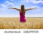 woman in golden wheat and blue... | Shutterstock . vector #108299555