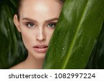 beauty woman face with healthy... | Shutterstock . vector #1082997224