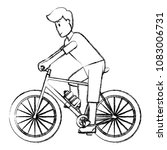 grunge man ride bicycle to... | Shutterstock .eps vector #1083006731