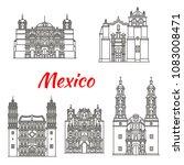 mexican travel landmark icon...   Shutterstock .eps vector #1083008471