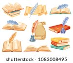vintage book with feather pen... | Shutterstock .eps vector #1083008495