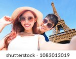couple travel to paris and... | Shutterstock . vector #1083013019